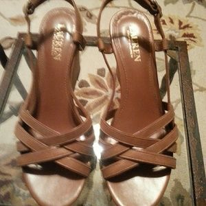 Lauren, Ralph Lauren leather w/cork wedge